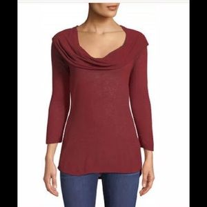 Like New- Red Cowl Neck Three Dots Thermal Tunic